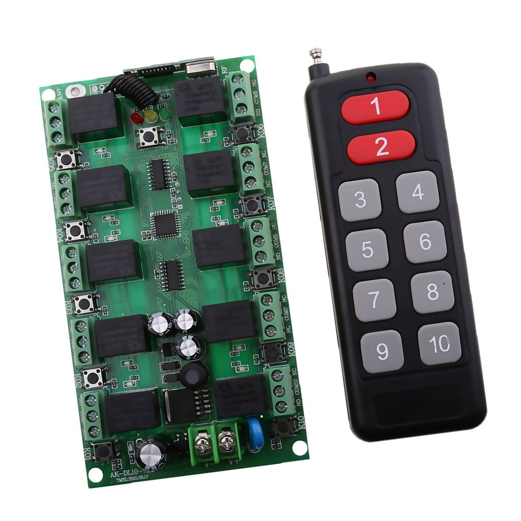 Monkeyjack Dc 12v 10 Channel Wireless Remote Control Infrared Transmitter Integrated Circuit Switch Receiver 1000m Home Improvement