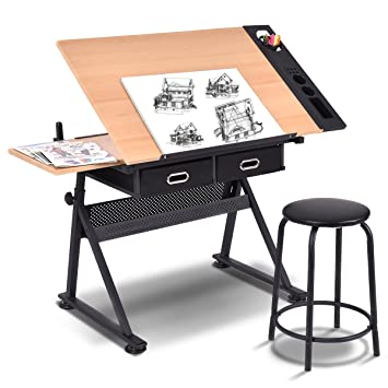 COSTWAY Drawing Table Titlable Tabletop Drafting Adjustable Height Home  Office Desk (Natural Board Stool Drawers