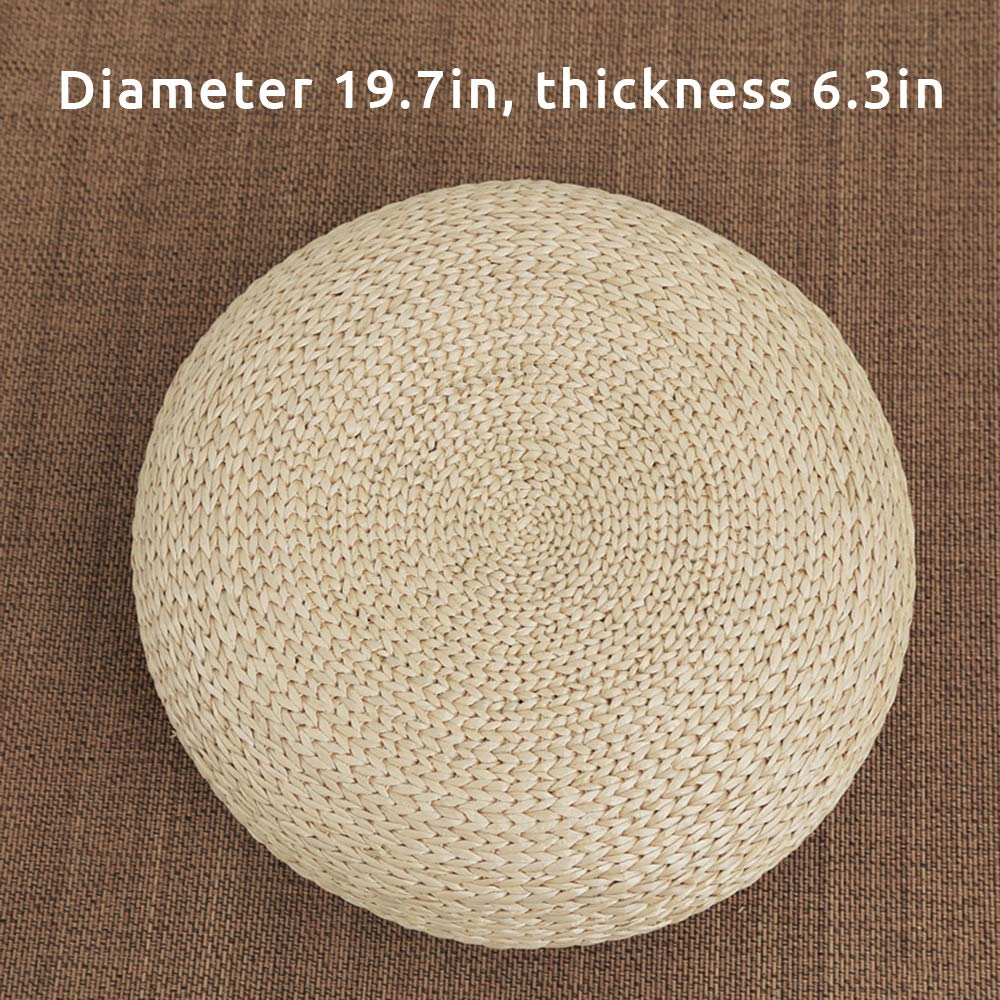 Ottoman Footstool JOYBASE Straw Flat Seat Cushion Handmade Floor Pouf Mat Home Decorative Seat for Living Room 19.7 x 4.3 in Bedroom