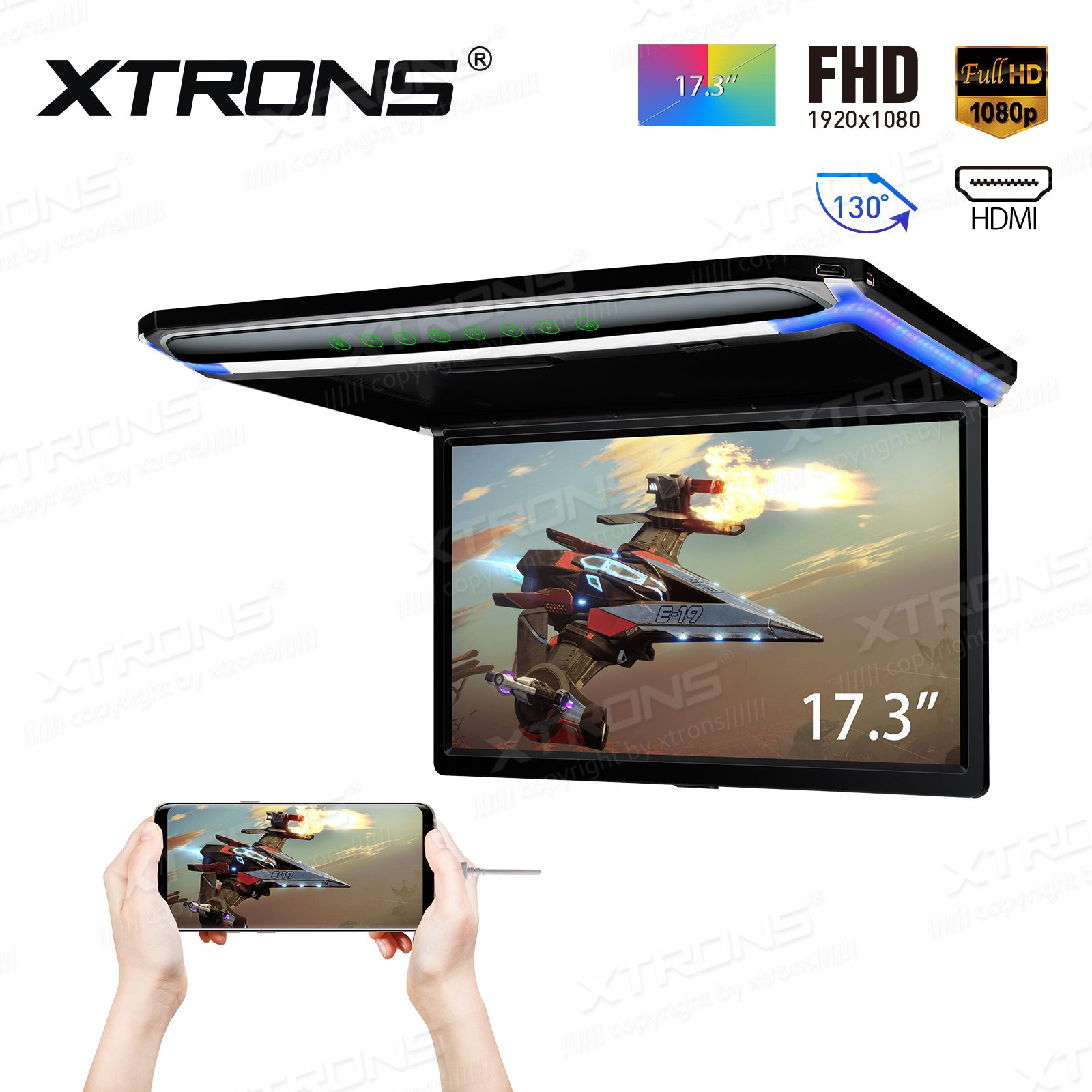 XTRONS 17.3 Inch 16:9 Ultra-Thin FHD Digital TFT Screen 1080P Video Car Overhead Player Roof Mounted Monitor HDMI Port 19201080 Full High Definition by XTRONS