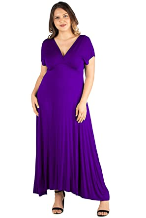 0ac5dd7398d84 24seven Comfort Apparel Plus Size Clothing for Women Cap Sleeve V Neck Empire  Waist Maxi Dress