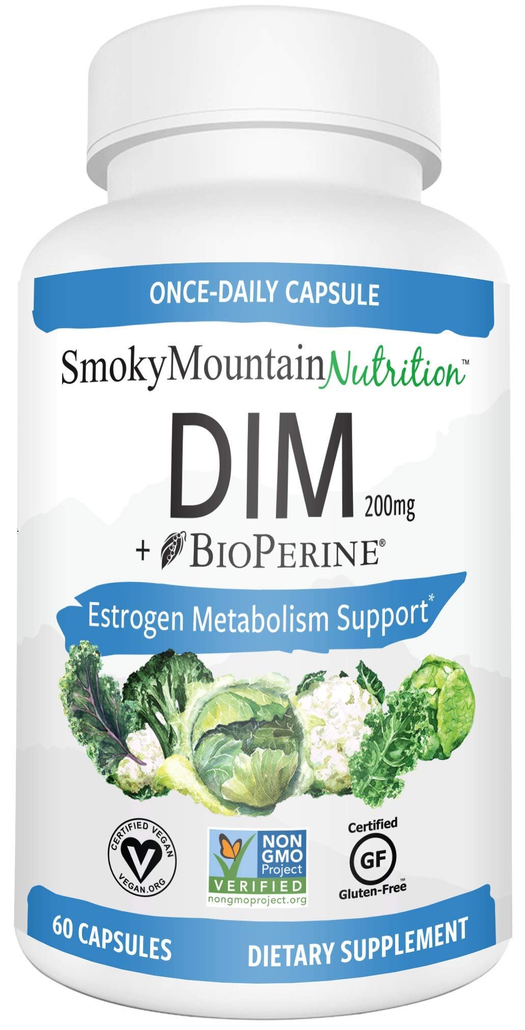 DIM Supplement 200mg - DIM Diindolylmethane Plus BioPerine 60-Day Supply of DIM for Estrogen Balance, Hormone Menopause Relief, Acne Treatment, PCOS, Bodybuilding by Smoky Mountain Naturals