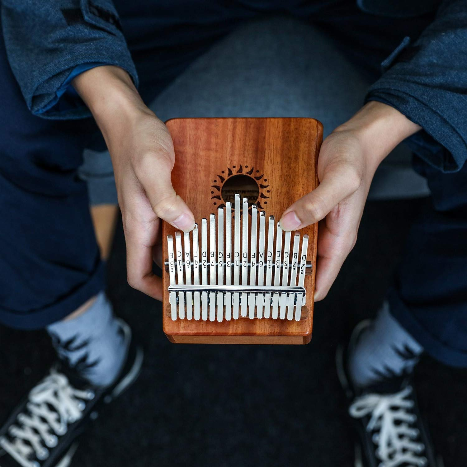 Donner 17 Key Kalimba Thumb Piano Solid Finger Piano Mahogany Body DKL-17 With Hard Case by Donner (Image #7)