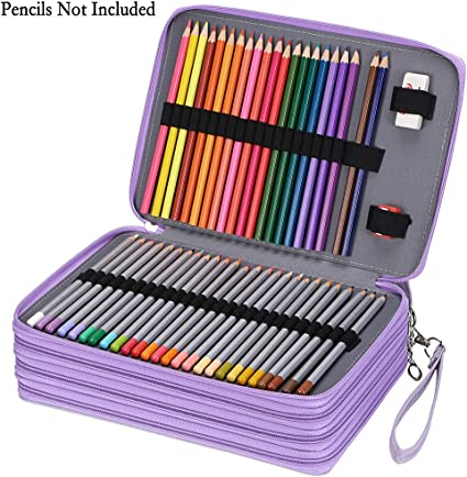 Sumnacon 200 - Estuche para lápices de colores para diseñador profesional o aficionado de piel sintética (morado): Amazon.es: Oficina y papelería