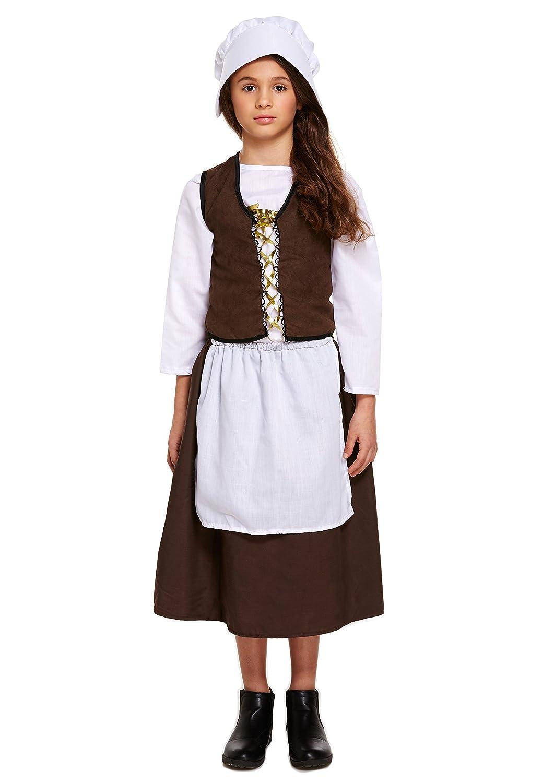 White apron fancy dress - Victorian Maid Girls Fancy Dress Servant World Book Day Week Kids Child Costume Medium Ages