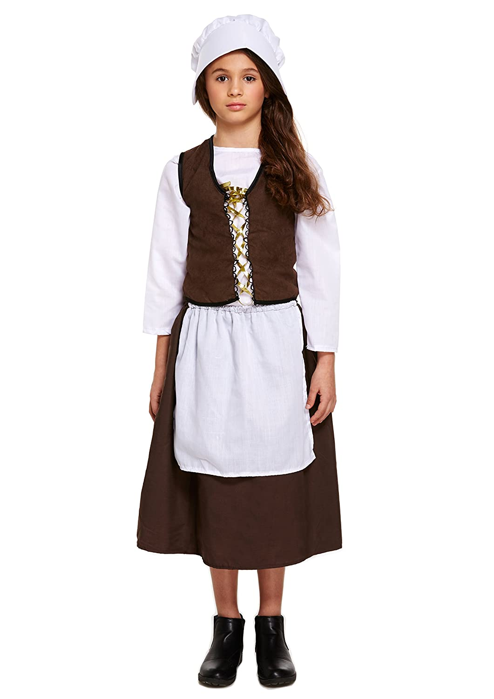 Kids Girls Victorian Maid Servant Poor Fancy Dress Book Week Costume Outfit