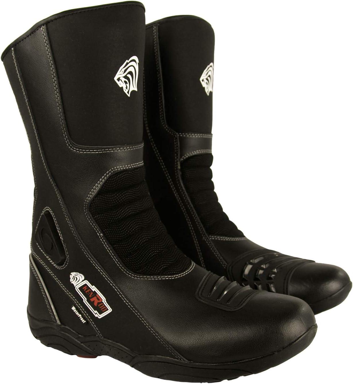 Zerimar Botas Piel Moto   Botas Moto   Botas Motocicleta de Cuero   Botas de Moto Proteccion (Carbon-Negro, 43)