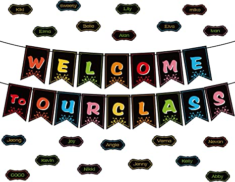 Classroom Decorations Welcome Banner, Welcome Bulletin Board Banner Welcome Chalkboard Brights Pennants with 50 Dry Eraser Multi-Purpose Cards and 80 ...