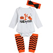 Lorjoy Baby Girls' 1ST Halloween Pumpkin Ghosts Bodysuit Striped Legging Headband Outfits Set (0-3 Months), White