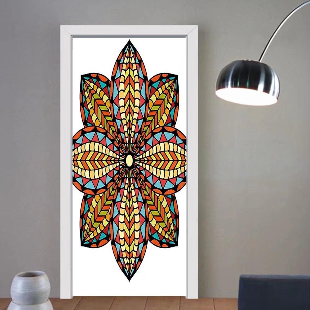 Gzhihine custom made 3d door stickers Mandala Floral Motif Geometric Colorful Petals Curvy Elliptic Design Ethnic Traditional Art Multicolor For Room Decor 30x79