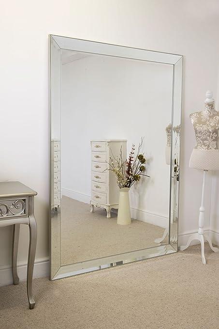 Frameless Large Venetian Madena Leaner Modern Wall Mirror 202cm X 141cm Amazon Co Uk Kitchen Home