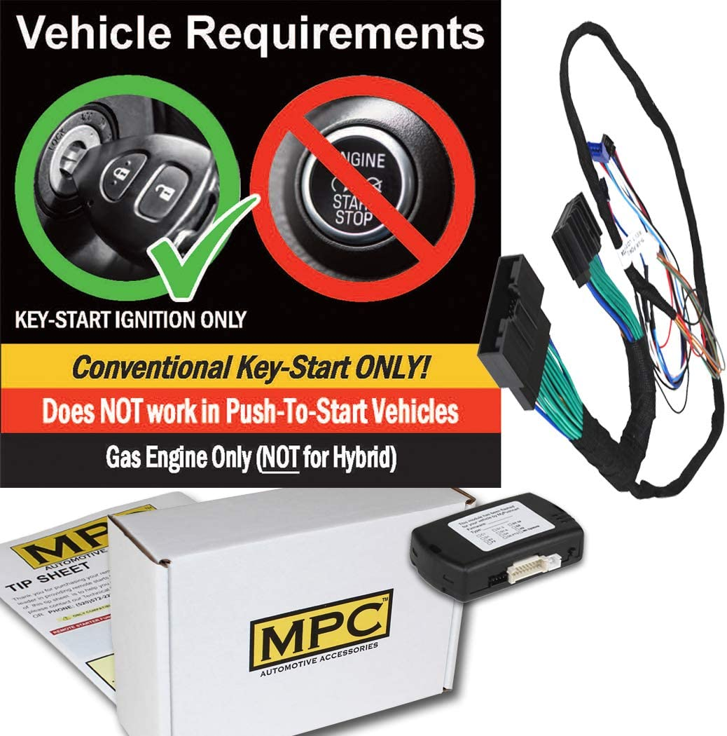 Gas| with T-Harness OEM Key Fob Activated MPC Plug N Play Remote Starter for 2017-2019 Ford F-350 Super Duty Key to Start