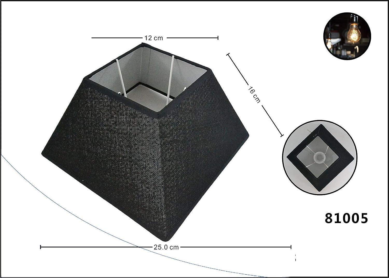 Lampenschirm Flachs schr/äg eckig Stoff Textil Leinen Shabby Chick eckig Lampe Schirm E27 E14 6 Zoll schwarz