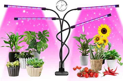 Grow Light, FURANDE Full Spectrum Plant Grow Lights for Indoor Plants, Adjustable Gooseneck AUTO Timer 9 Dimmable Levels 3 Switch Modes Grow Lamp with Clip