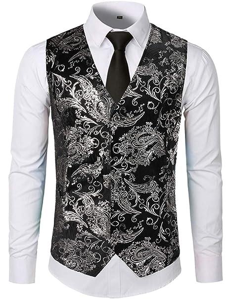 Carolyn Jones Mens Vest Print Flower Metallic Suit Waistcoat ...