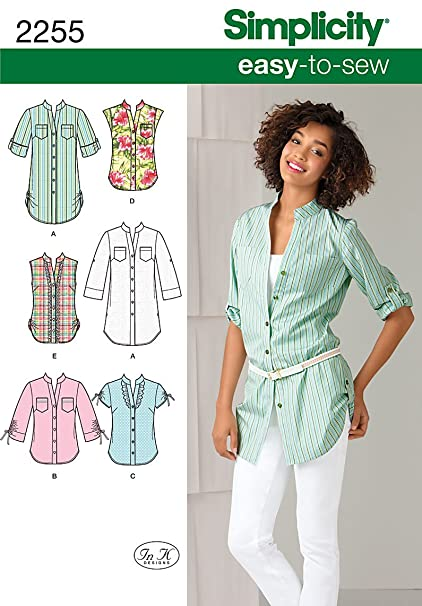 Amazon.com: Simplicity Easy-to-Sew Pattern 2255 Misses Tunic or ...