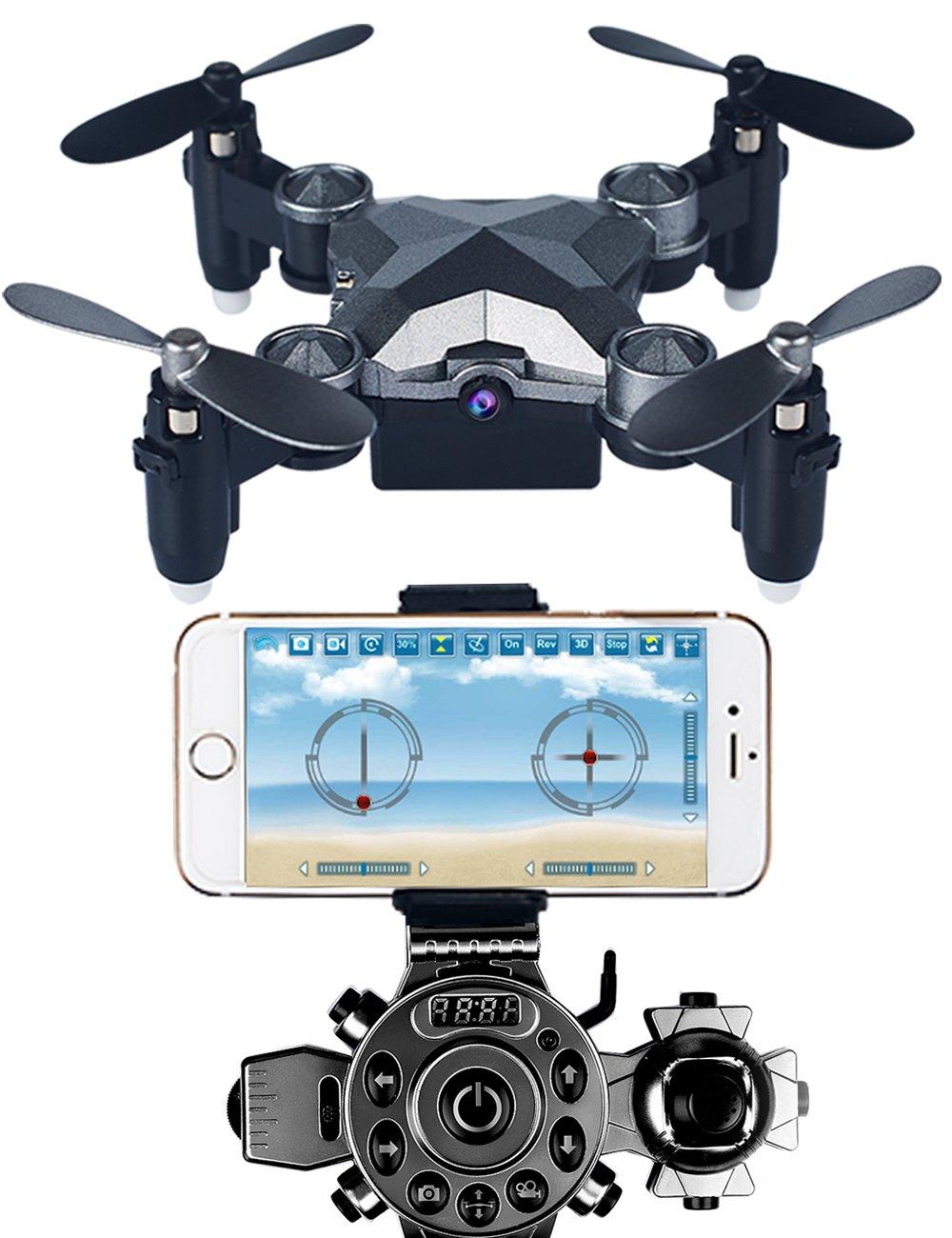 Arvin Mini Drohne, 4CH 4-Achsen-Fernbedienung Hubschrauber Outdoor Mini faltbare RC Quadcopter mit 0.3MP WIFI FPV Kamera und 2.4G Frequenz Uhr Controller, Halloween Geschenke und Weihnachtsgeschenke