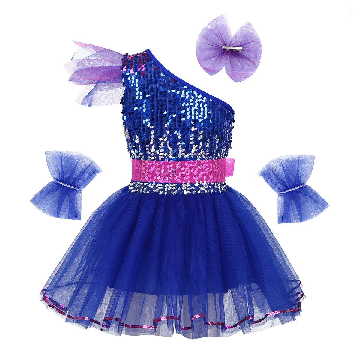 Amazon.com: Agoky Kids Girls One Shoulder Sequins Ballet ...