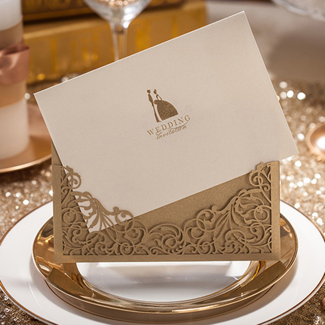 Co Provide Personalized Customized Service CW1016 WISHMADE 1 Sample WISHMADE 5 x 7 inch Gold Laser Cut Wedding Invites Shanghai Printable Bridal Shower Invitation Pocket Sleeve with Envelope Ltd.