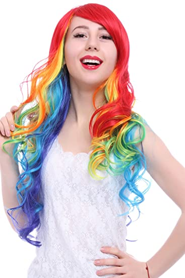 Amazon.com   ROLECOS Womens Long Wavy Hair Wig Fashion Synthetic Wigs for  Halloween Multicolor   Beauty b14b8c541