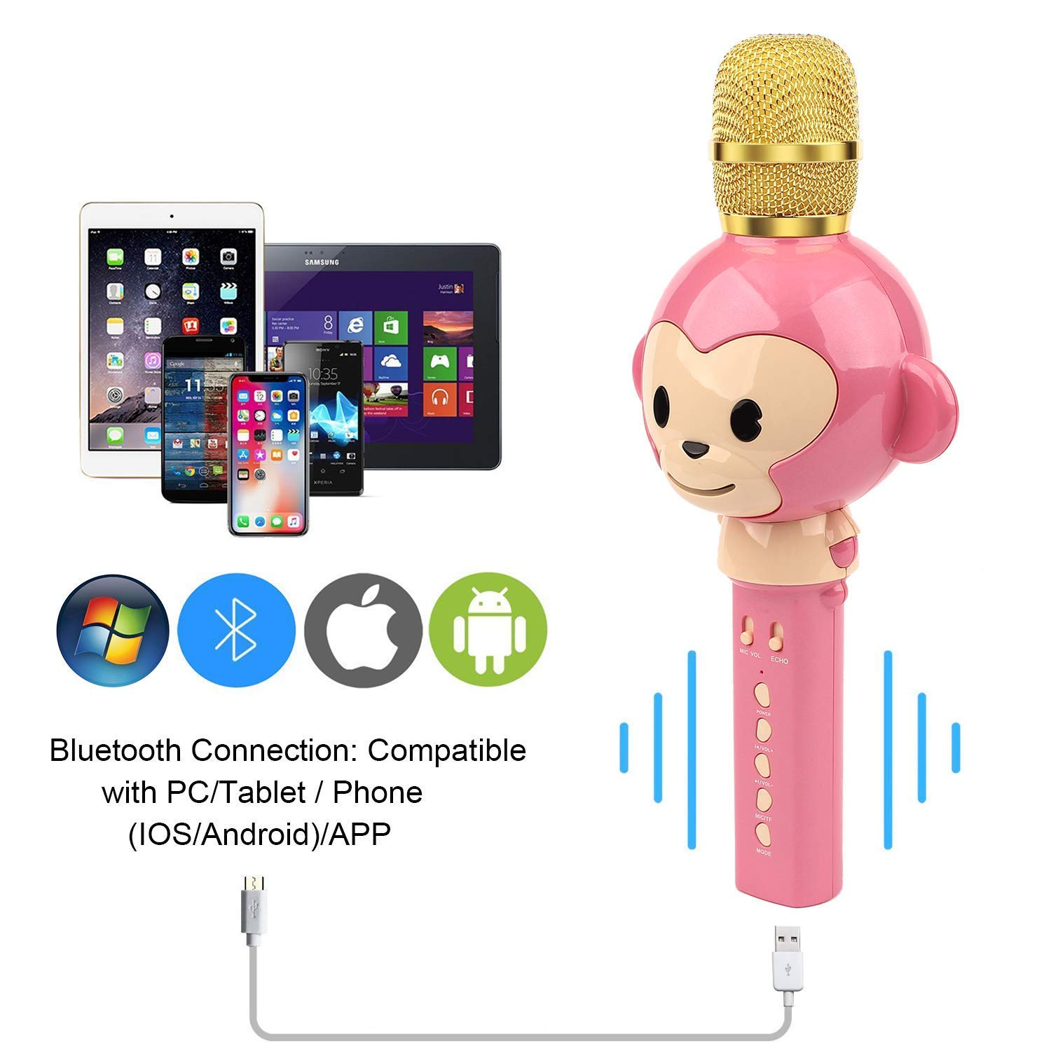 LingHui Kids Microphone Wireless Bluetooth Karaoke Microphone , 3-in-1 Portable Handheld Karaoke Mic Home Party Birthday Speaker Machine for iPhone/Android/iPad/Sony,PC and All Smartphone (Pink) by LingHui (Image #5)