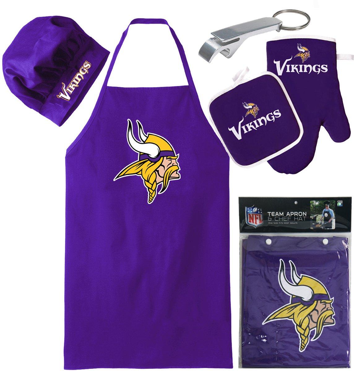 Minnesota Vikings (Apron & Oven Mitt Pot Holder), Bonus Bottle Beer Opener, Barbeque Apron and Chef's Hat , NFL Licensed