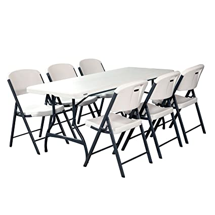 Amazon.com: Folding Table and Chairs Set of Lifetime Combo-One ...