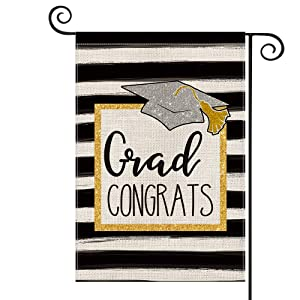 AVOIN Class 2021 Grad Congrats Watercolor Stripes Garden Flag Vertical Double Sided, Party Graduation Congratulations Yard Outdoor Decoration 12.5 x 18 Inch