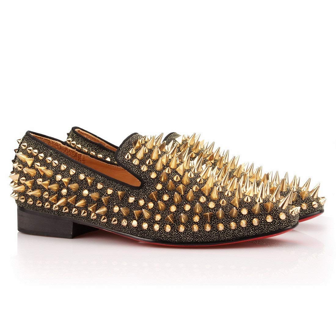 COOL TIRO Spikes Mens Loafers Smoking Slipper Casual Shoes Wedding Dress Men Flats Leather Party Shoes