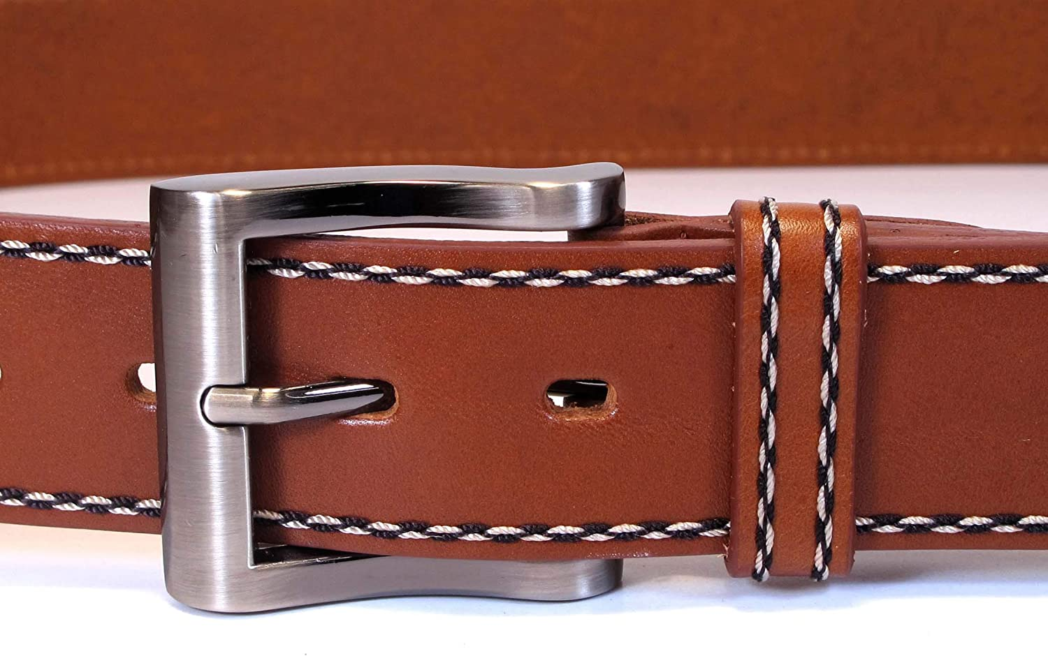 Womens Real Genuine Leather Tan Brown Belt 1.5 Wide S-XL Thick Casual Jeans CW7