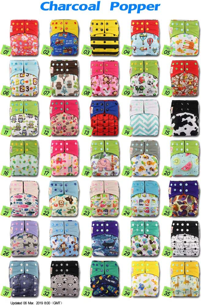 with 1 Microfibre Insert Reusable Pocket Real Cloth Nappy Washable Diaper Bamboo Charcoal Pattern 17 Littles /& Bloomz