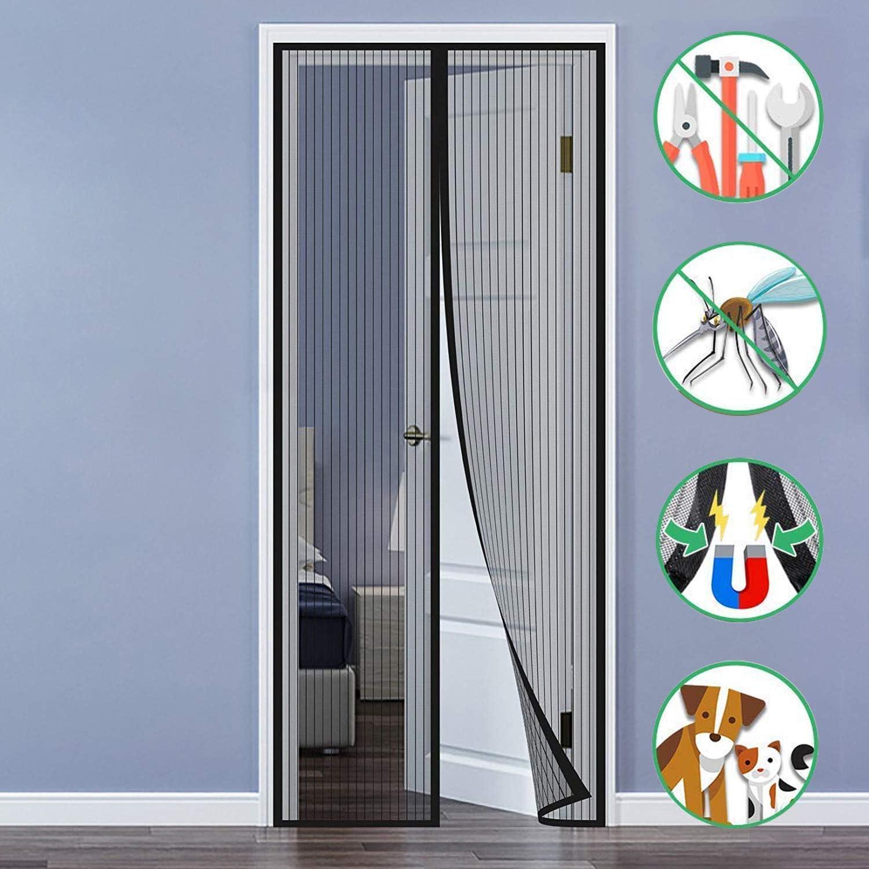 Aiyaoo Mosquitera Puerta Cremallera 80x215cm con Diseño Minimalista Fotograma Completo Cinta Anti Insecto Screen Cierre el automática para Salón de Estar - Negro