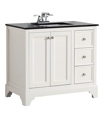 Charmant Simpli Home Cambridge 36u0026quot; Bath Vanity With Black Granite Top, Soft  While