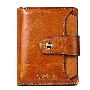 3fbe9640d2abe BOSTANTEN Damen Echtes Leder Geldbörsen RFID Slim Wallet 10 Kartenfächer  Portemonnaie Kleingeldfach mit Reißverschluss Braun