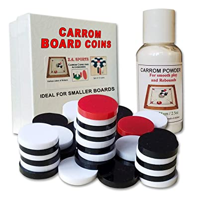 C arrom / Carom Coins Sets with Carrom Powder, Ideal for Smaller Boards and Kids: Toys & Games
