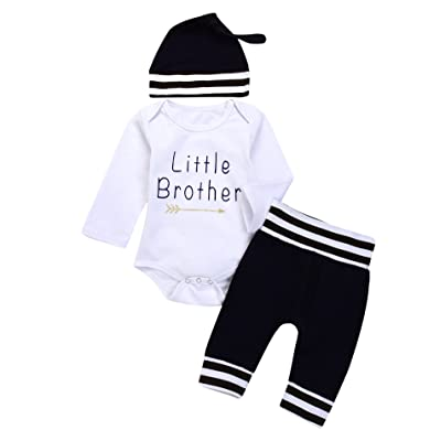 3PC Baby Boy Girl Suit For Baby Shower Black and white stripes Print Long Sleeve Romper+Long Pants+Hat