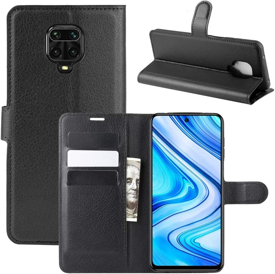 Fertuo Funda para Redmi Note 9S / Note 9 Pro, Carcasa Libro con Tapa de Cuero Piel Wallet Case Flip Cover con Kickstand, Hebilla Magnetica, Ranuras para Tarjetas para Xiaomi Redmi Note 9S, Negro