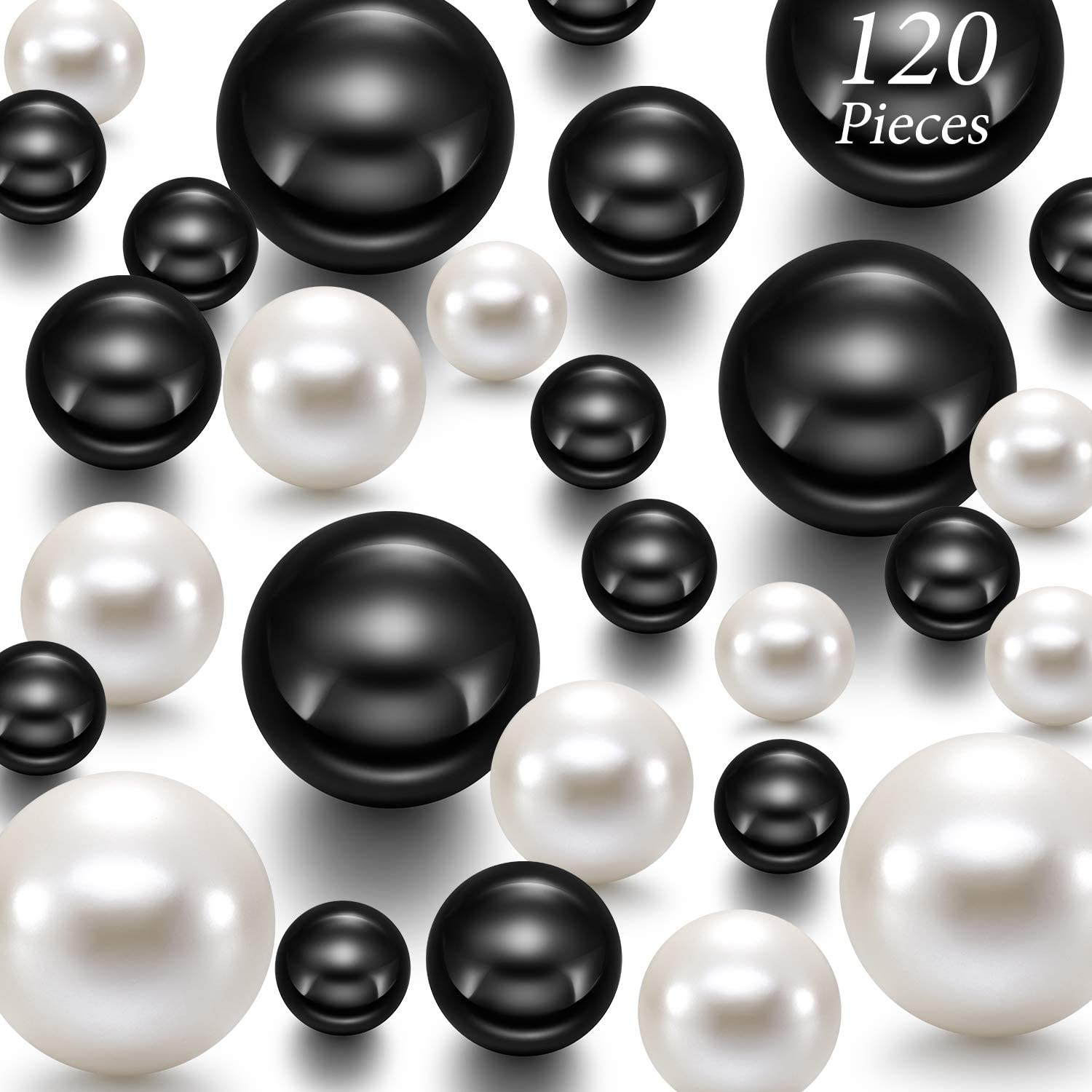Hicarer 120 Pieces Pearl for Vase Filler Pearls Bead for Vase Makeup Beads for Brushes Holder Assorted Round Faux Pearl Beads for Home Wedding Decor, 14/20/ 30 mm(Creamy White, Bright Black)