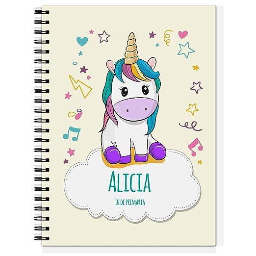 Cuaderno Unicornio Personalizado con Nombre/Curso | Vuelta al Cole Niño Niña | Varios diseños y tamaños a Elegir | Unicornio