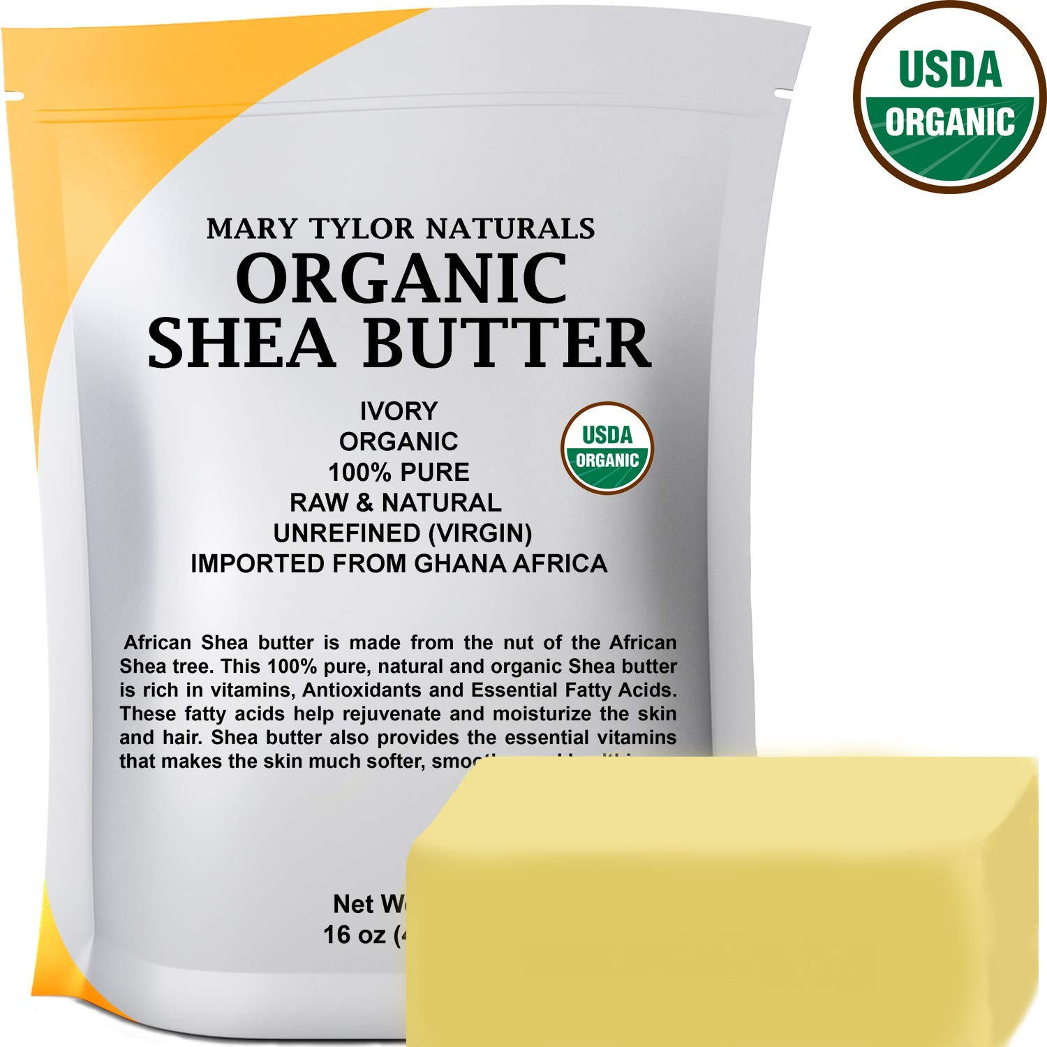 Certified Organic Shea butter 1 lb Raw Unrefined Shea butter Ivory From Ghana Africa, Amazing Skin Nourishment, Great for Eczema, Stretch Marks and Body by Mary Tylor Naturals by Mary Tylor Naturals