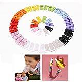 50pcs KAM Pince à sucette bretelle attache clip plastique 10 couleurs