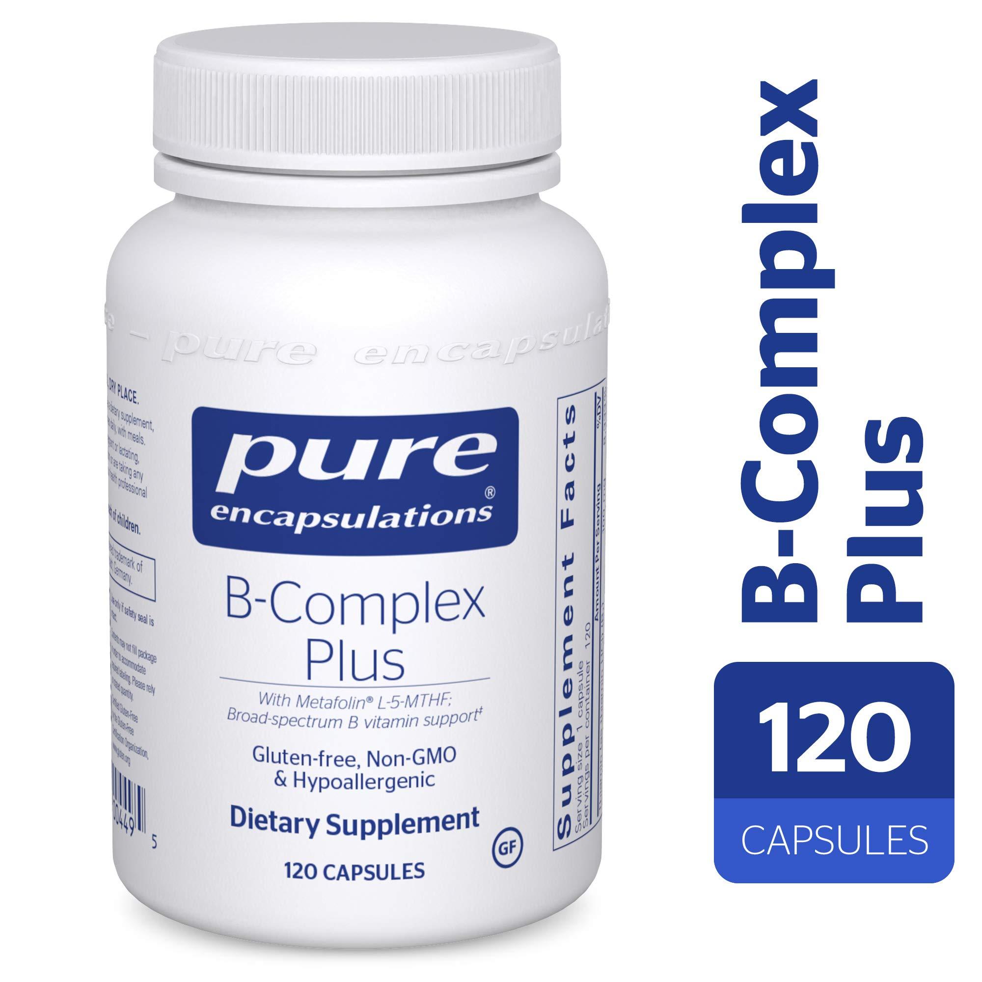 Pure Encapsulations - B-Complex Plus - Balanced B Vitamin Formula with Metafolin® L-5-MTHF and Vitamin B12 - 120 Capsules