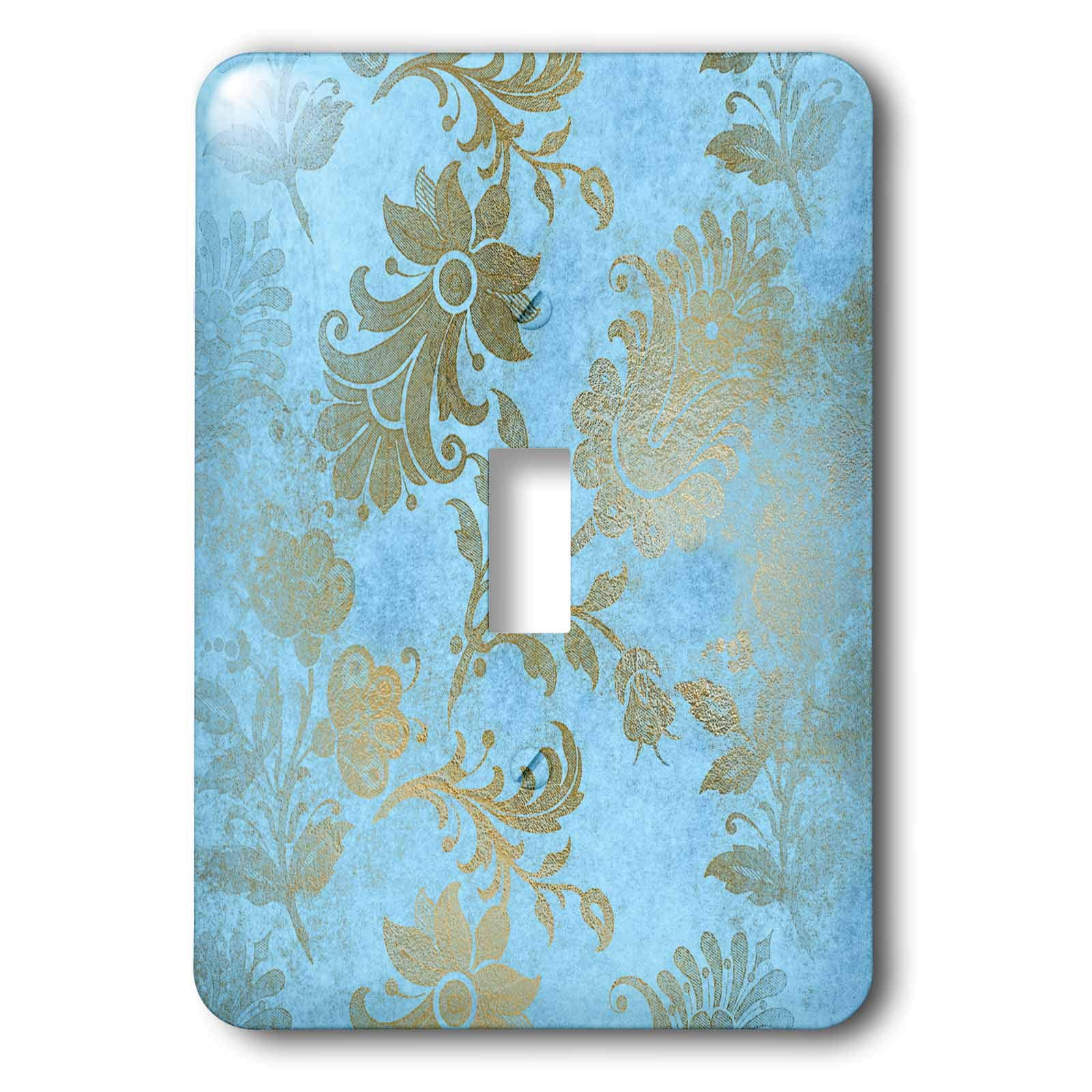 3dRose Uta Naumann Faux Glitter Pattern - Image of Sky Blue and Gold Metal Foil Vintage Grunge Luxury Floral Pattern - Light Switch Covers - single toggle switch (lsp_290170_1)