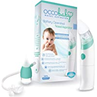 OCCObaby Baby Nasal Aspirator - Safe Hygienic and Quick Battery Operated Nose Cleaner with 3 Sizes of Nose Tips and Oral…