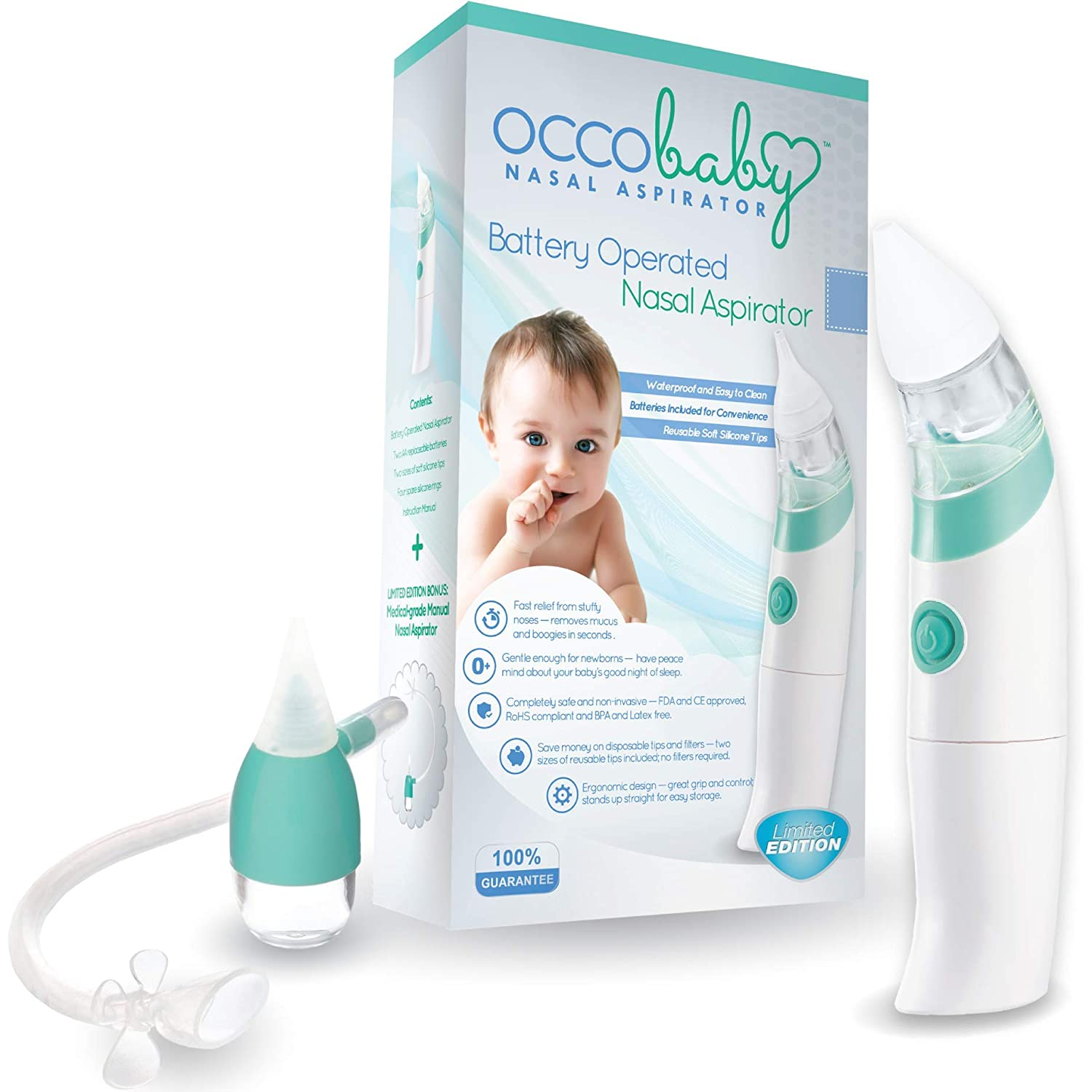Amazon Com Occobaby Baby Nasal Aspirator Safe Hygienic And Quick Battery Operated Nose Cleaner With 3 Sizes Of Nose Tips Includes Bonus Manual Snot Sucker For Newborns And Toddlers Limited Edition Baby