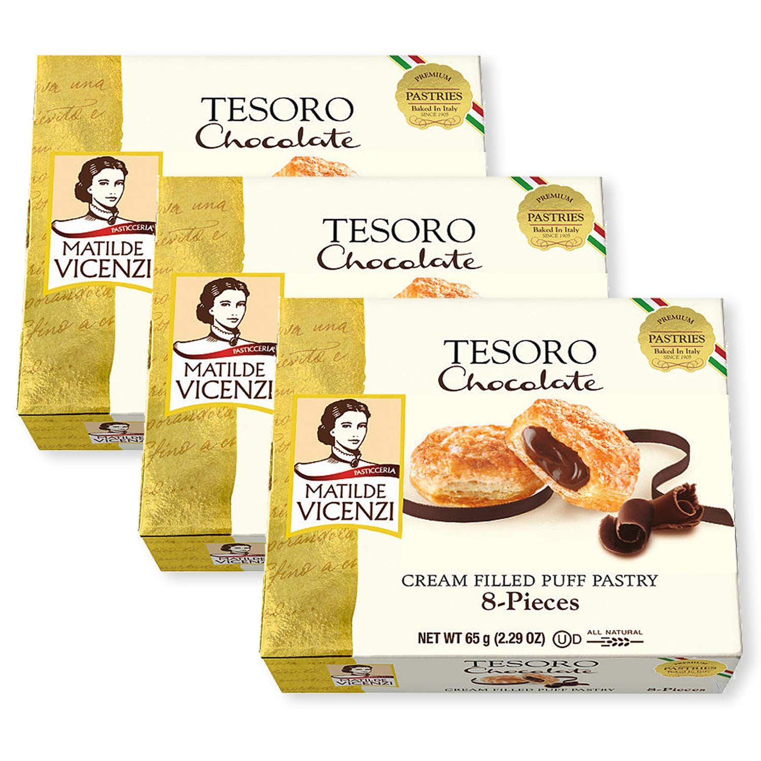 Tesoro Chocolate Cream by Matilde Vicenzi | Chocolate Cream Filled Puff Pastry Patisserie | All Natural, Dairy, Kosher | Made in Italy | 2.29oz (65g) Box of 8 Pastries, 3-Pack