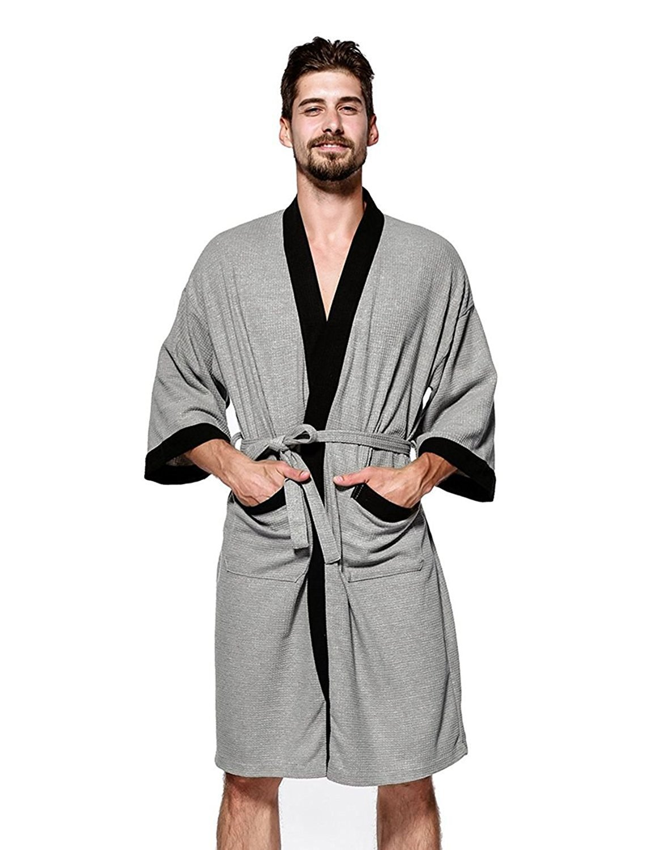 YIMANIE Mens Waffle Weave Robe Kimono Spa Bathrobe, Grey, Large