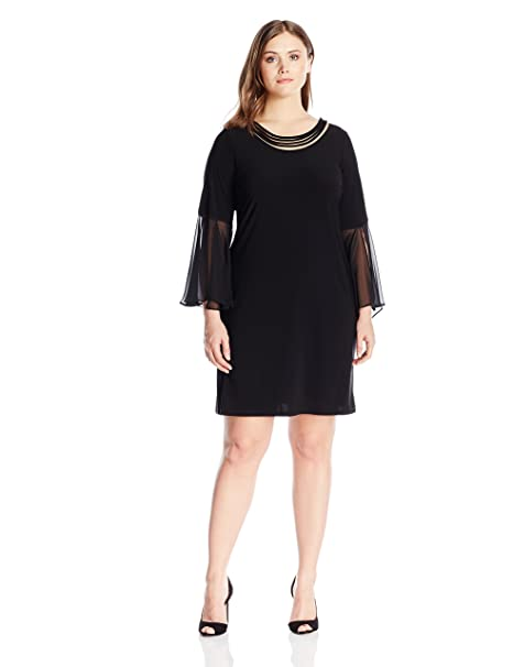 MSK Plus Size Bell Sleeve Dress with Self Neck Detail-Womens