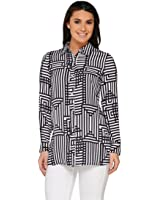 Susan Graver Printed Stretch Woven Button Shirt A263813