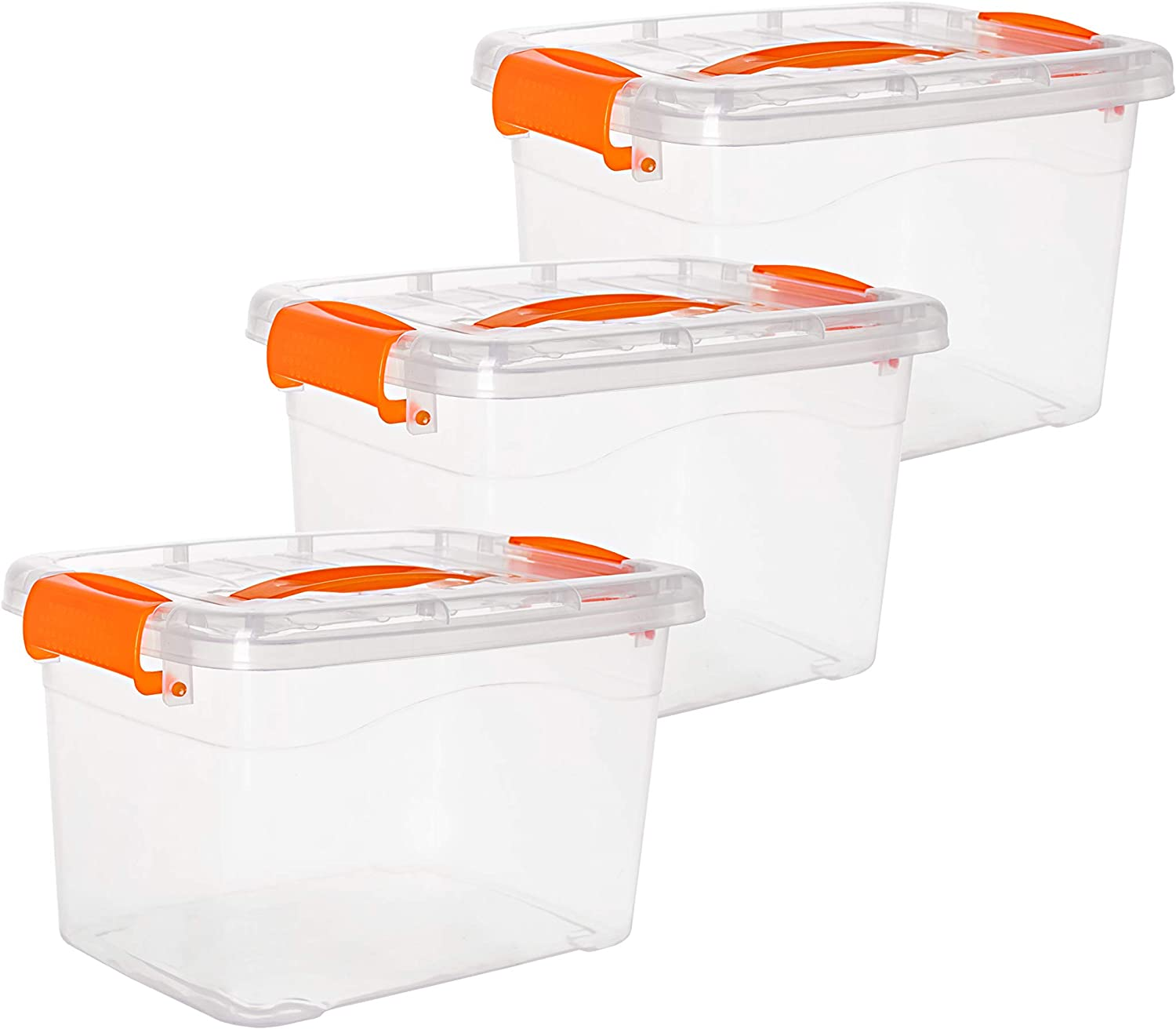 Noble Designs 6 qt Storage containers with lids | Perfect for Food, Toy and Personal Storage | Set of 3 | Orange latches and Handle